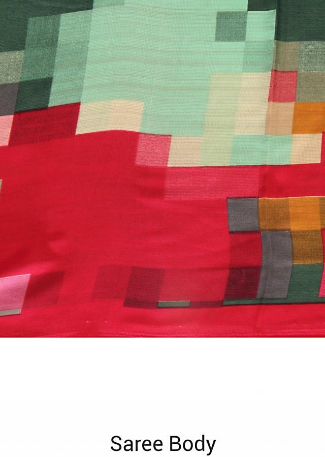 Multi color saree featuring in geometric print only on Kalki