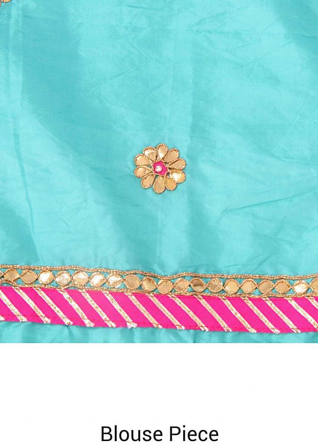 Multi color saree featuring in gotta patch border only on Kalki