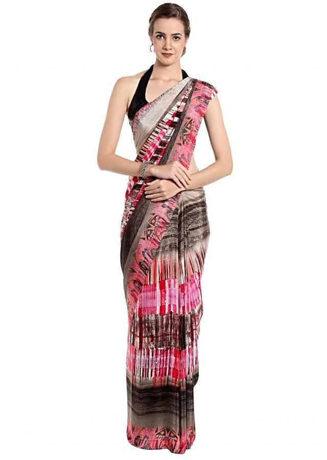 Multi color saree in abstract motif print only on Kalki