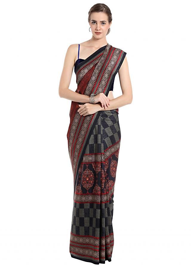 Multi color saree in black, red and cream motif print only on Kalki