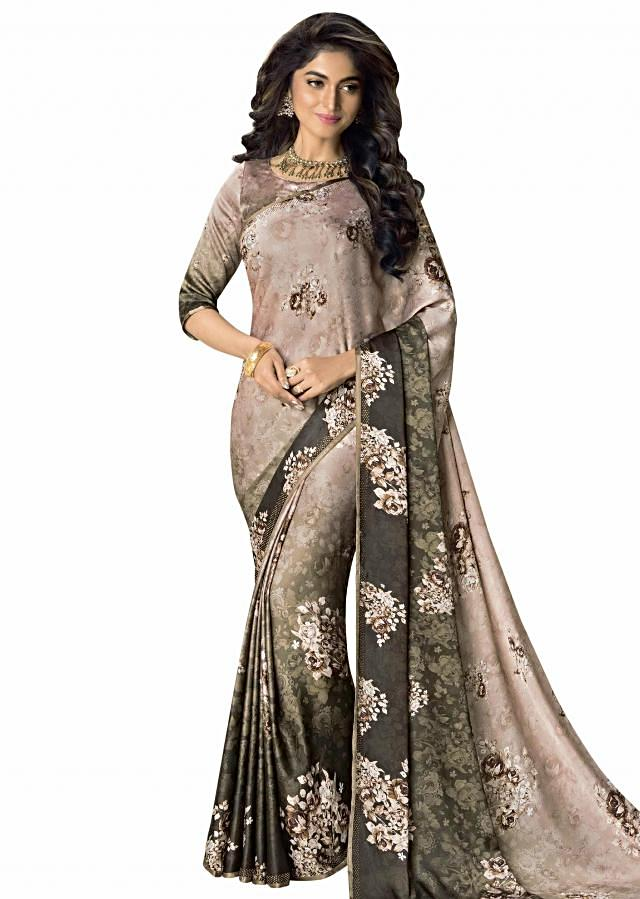 Multi color saree in shade of brown with floral print and kundan embroidery