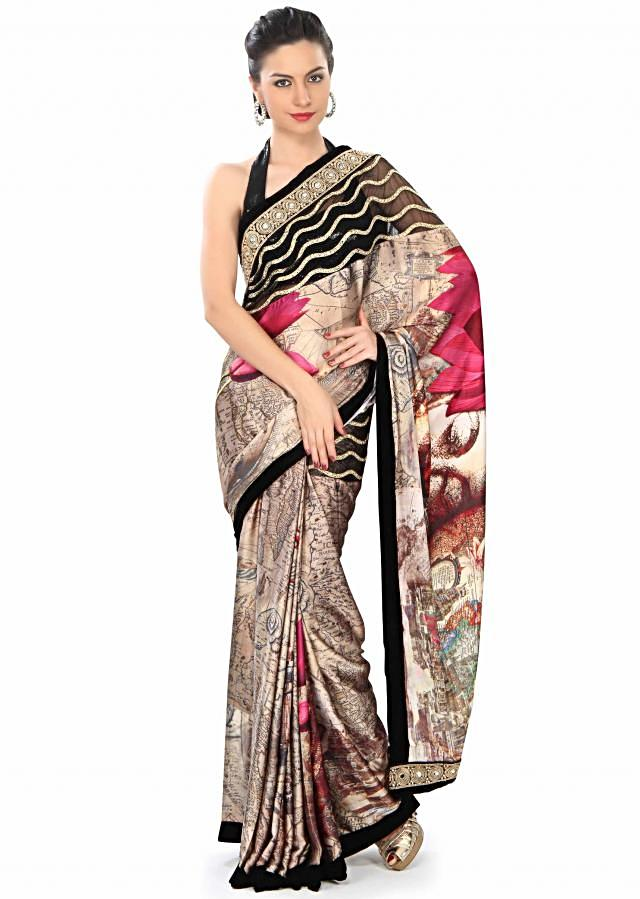 Multi color saree with world map digital print only on Kalki