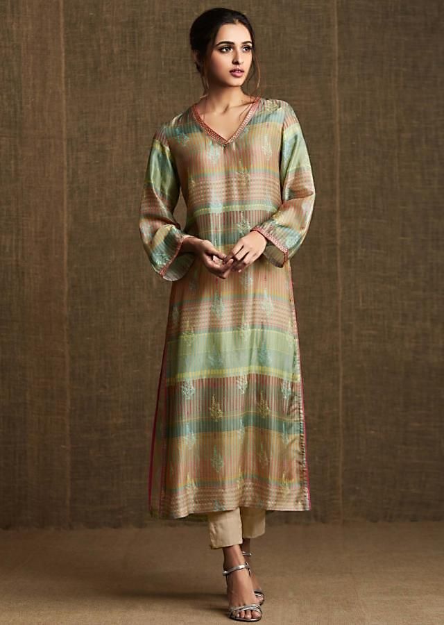 Multi color silk kurti in silk with floral print and embroidered piping