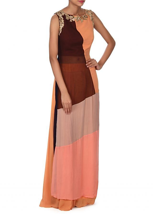 Multi color straight suit matched with palazzo pant only on Kalki