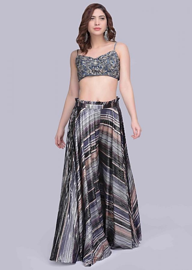 Multi Color Palazzo In Striped Fabric With Single String Grey Embroidered Net Crop Top Online - Kalki Fashion