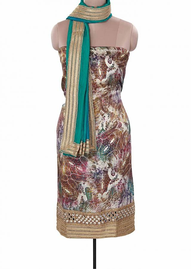 Multi color unstitched suit adorn in digital print only on Kalki