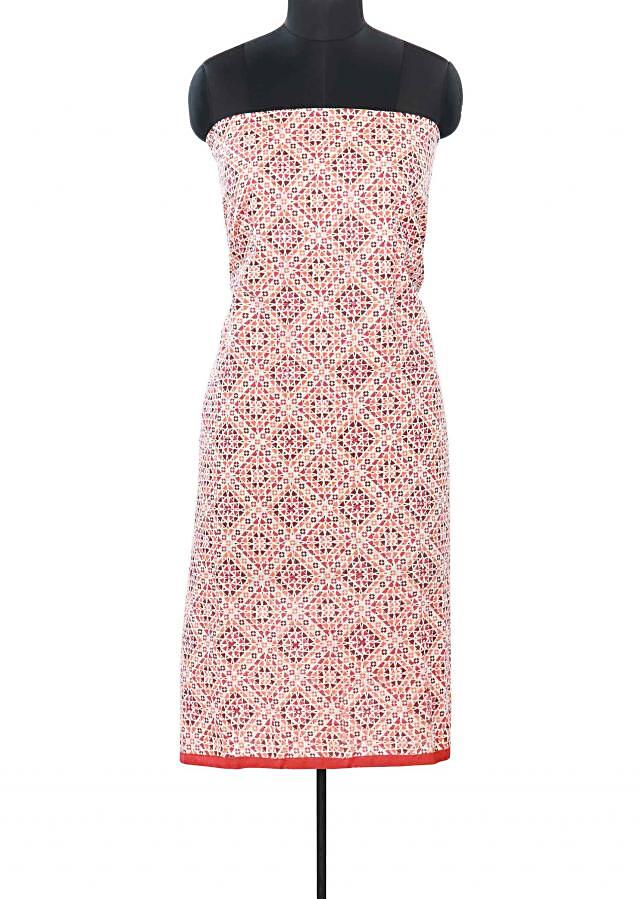 Multi color unstitched suit enhanced in print only on Kalki