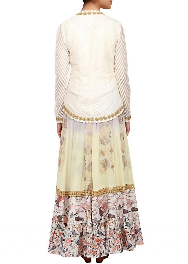 Multi colored anarkali in georgette and cotton silk embellished in zari and resham embroidery only on Kalki
