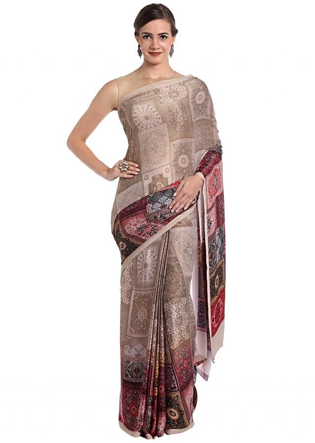 Multi-colored art silk saree featuring prints only on Kalki