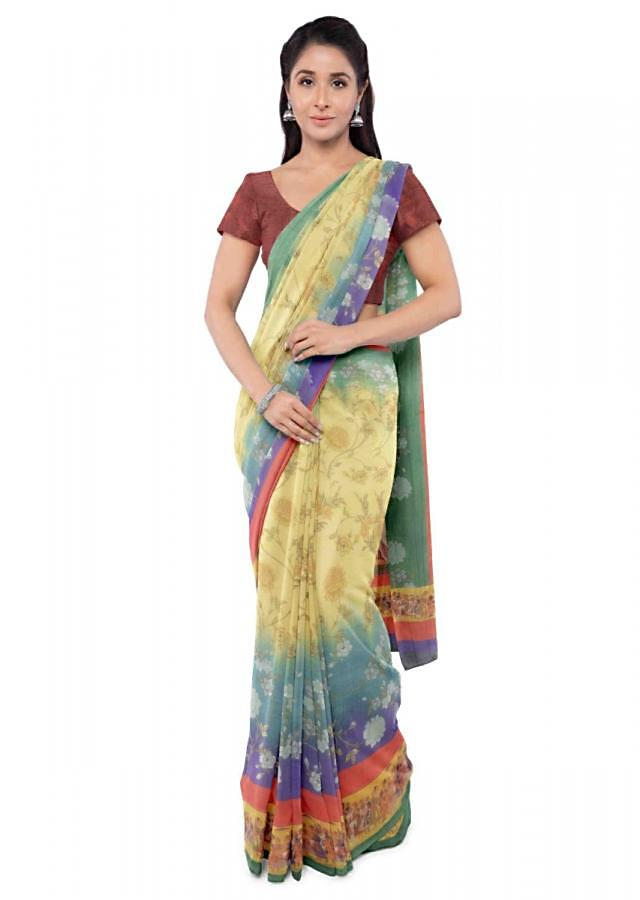Multi Color Saree In Cotton Fabric With Floral Print All Over Online - Kalki Fashion