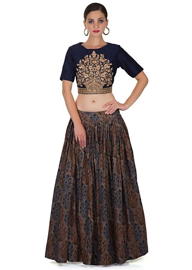 Multi-colored Cotton Skirt and Navy Blue Raw Silk Top Featuring Resham and Zardosi Embroidery only on Kalki