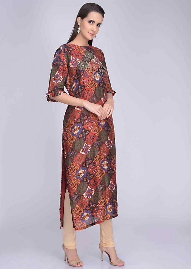 Multi colored embroidered crepe kurti in tribal digital print only on Kalki