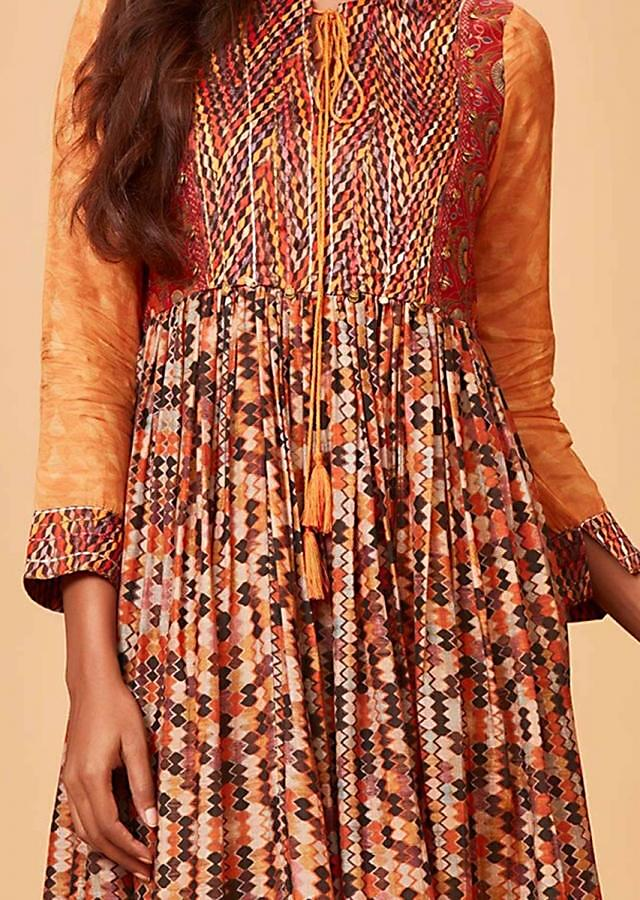 Multi Colored Flared Tunic Dress With Geometric Abstract Print Online - Kalki Fashion