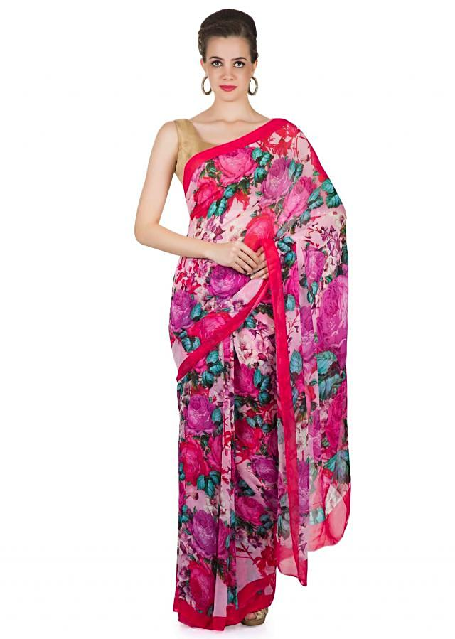 Multi-colored Floral Printed Georgette Saree and Blouse Only on Kalki