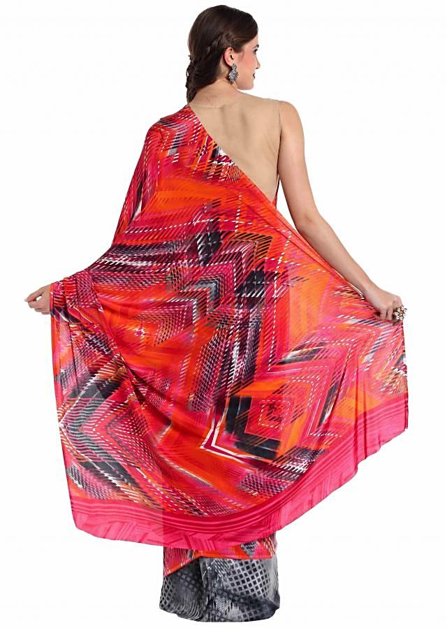 Multi-colored printed crepe saree featuring  only on Kalki