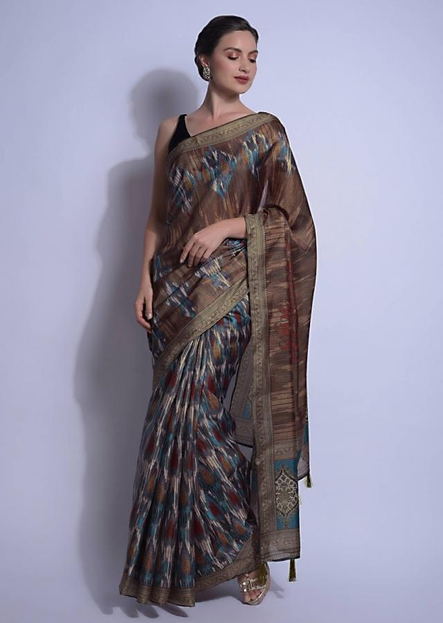 Multi Colored Saree In Silk Adorned With Ikkat Print Online - Kalki Fashion