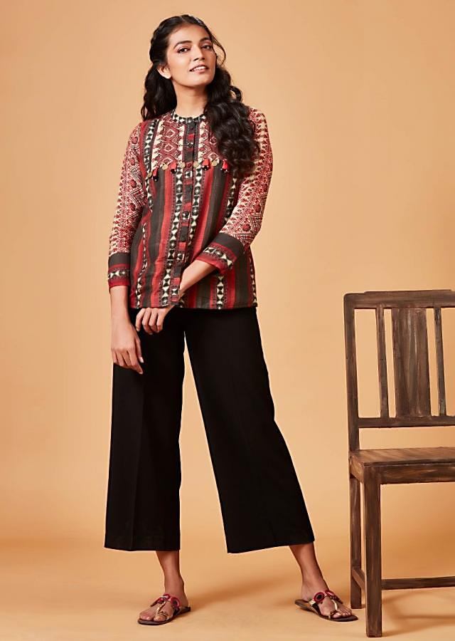 Multi Colored Short Kurti In Crepe With Tribal And Patola Print Online - Kalki Fashion