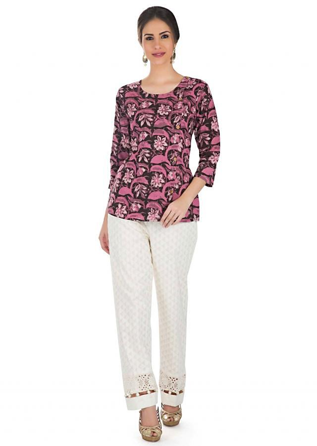 Multi-Colored Cotton Top Flaunting Printed Floral Motifs  only on Kalki