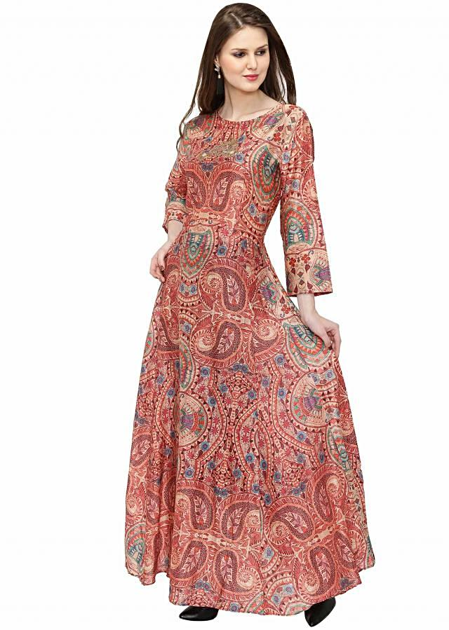 Multi-colored Georgette Dress with Digital Prints only on Kalki