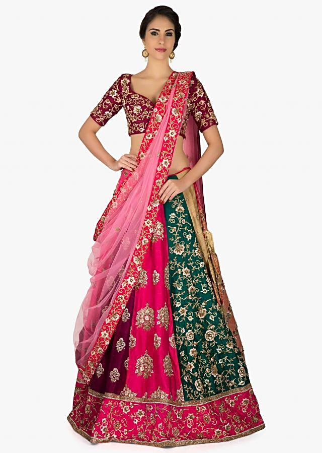 Multi-colored Raw Silk Lehenga set Featuring Resham Work and Sequins only on Kalki