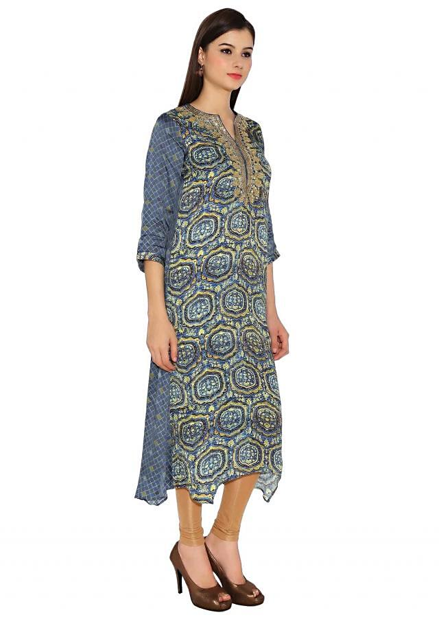 Multi Colour Cotton Kurti With All Over Print And Sequin Thread Work On Neckline Only On Kalki