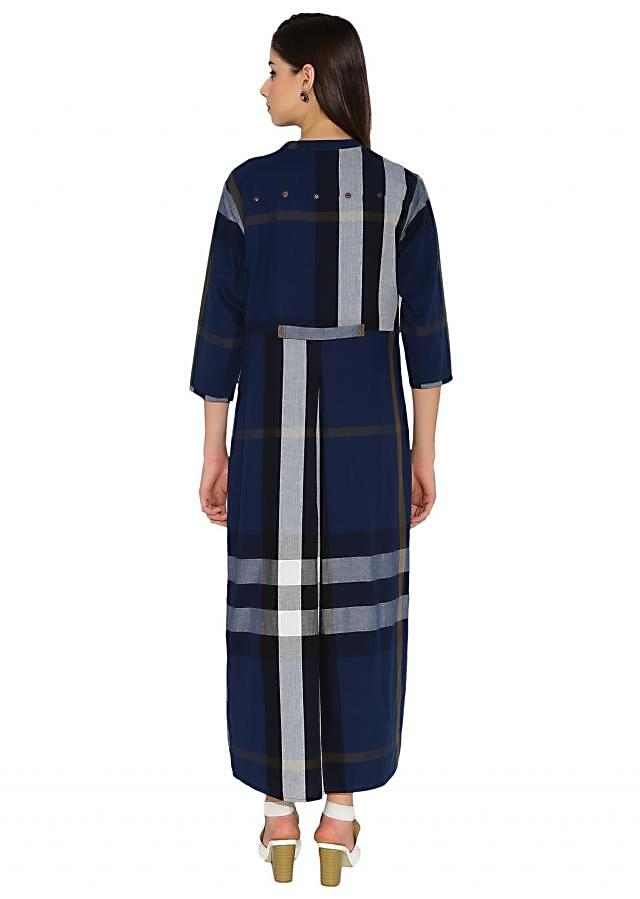 Multi Colour Cotton Kurti With Checkered Jacket And Plain Lining Only On Kalki