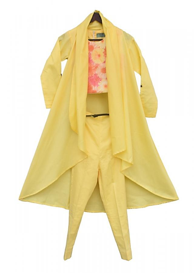 Multi Colour Crop Top with Yellow Pant and  Long Shrug by Fayon Kids