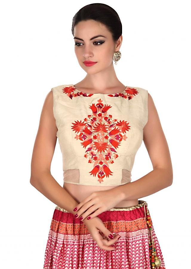 Multi color printed lehenga with cream blouse only on Kalki