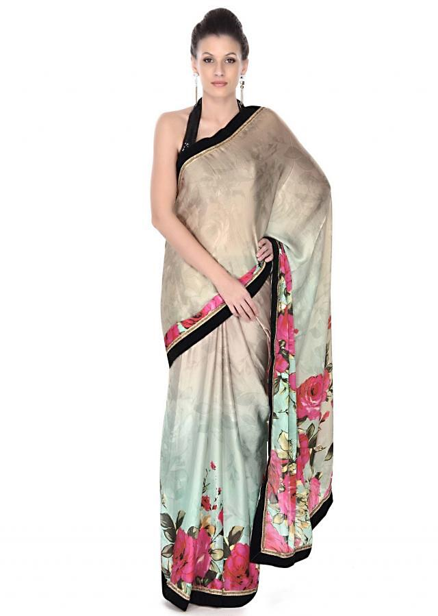 Multi color saree in floral print and velvet border only on Kalki