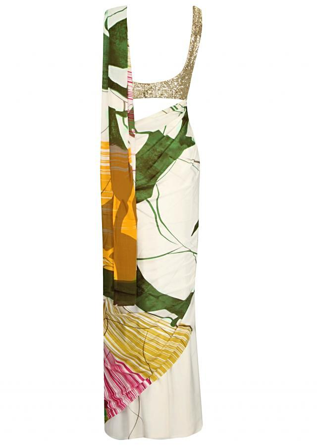 White saree with abstract print only on Kalki