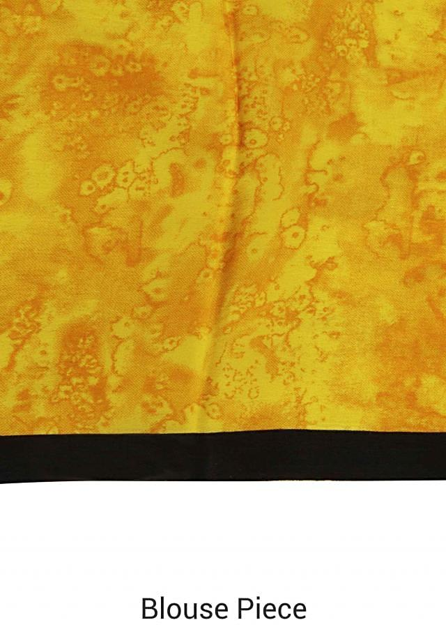 Yellow and white saree with abstract print only on Kalki