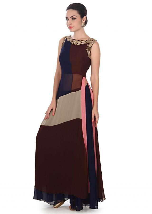 Multi color straight suit adorn in zari embroidery only on Kalki