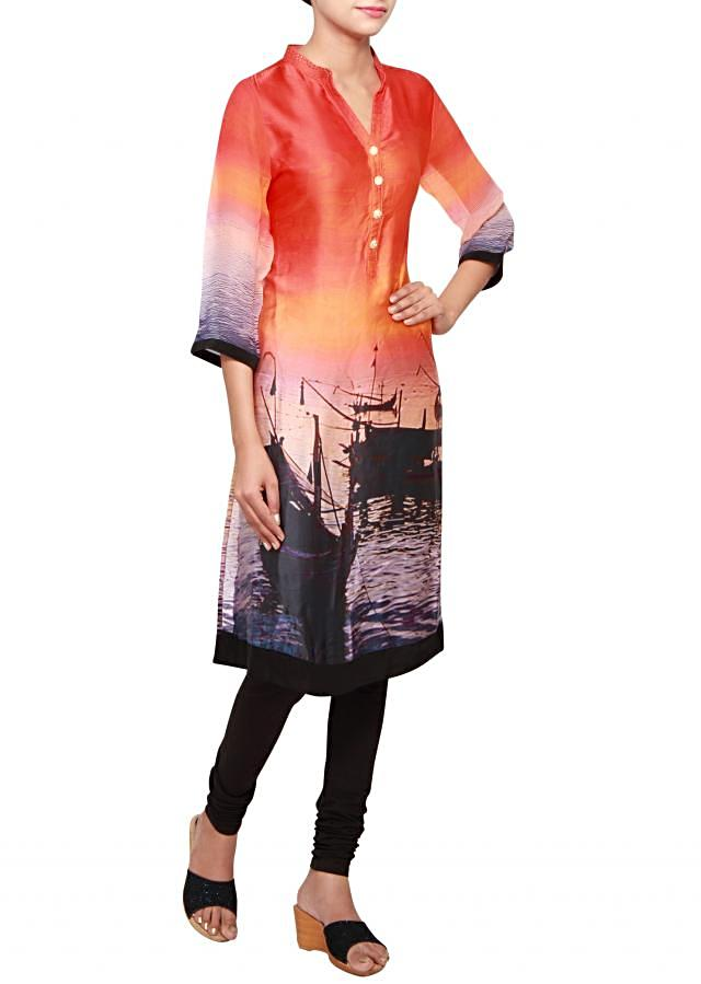 Multi coloured a-line kurti in satin embellished in print only on Kalki