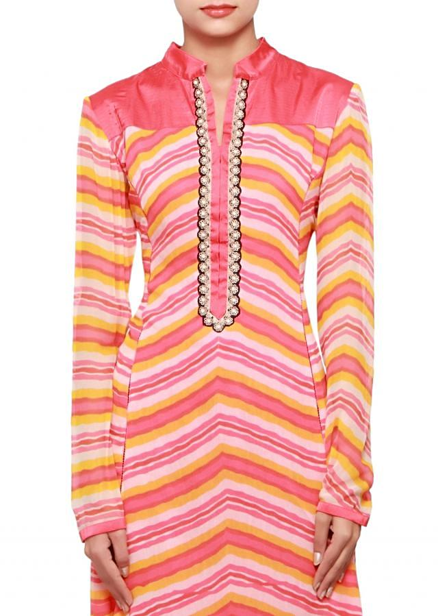 Multi coloured a-symmetrical kurti in georgette embellished in print and lace only on Kalki