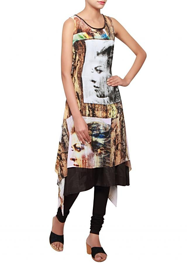 Multi coloured a-symmetrical kurti in georgette embellished in print only on Kalki
