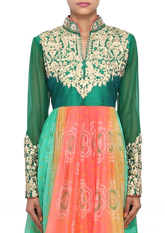 Multi coloured anarkali featured in georgette and silk embossed with zari only on Kalki