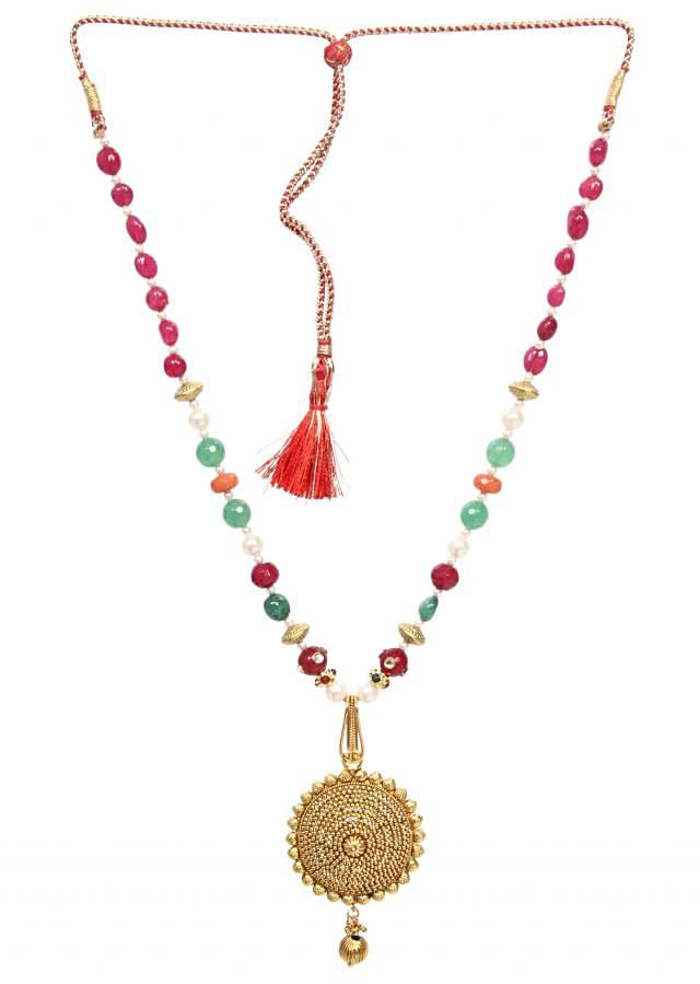 Multi coloured beaded chain with a gold locket never lost its charm only on Kalki