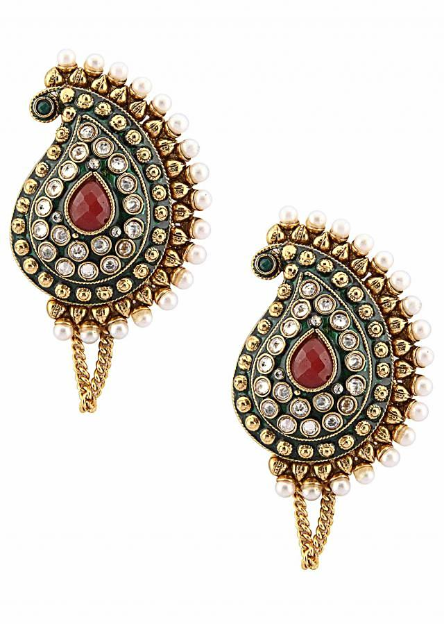 Multi-coloured diamonte and stone keri earring with suuporter only on Kalki