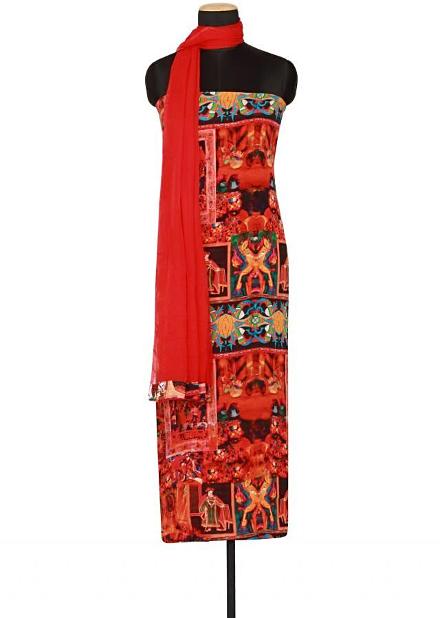 Multi coloured printed crepe un-stitched salwar-kameez only on Kalki