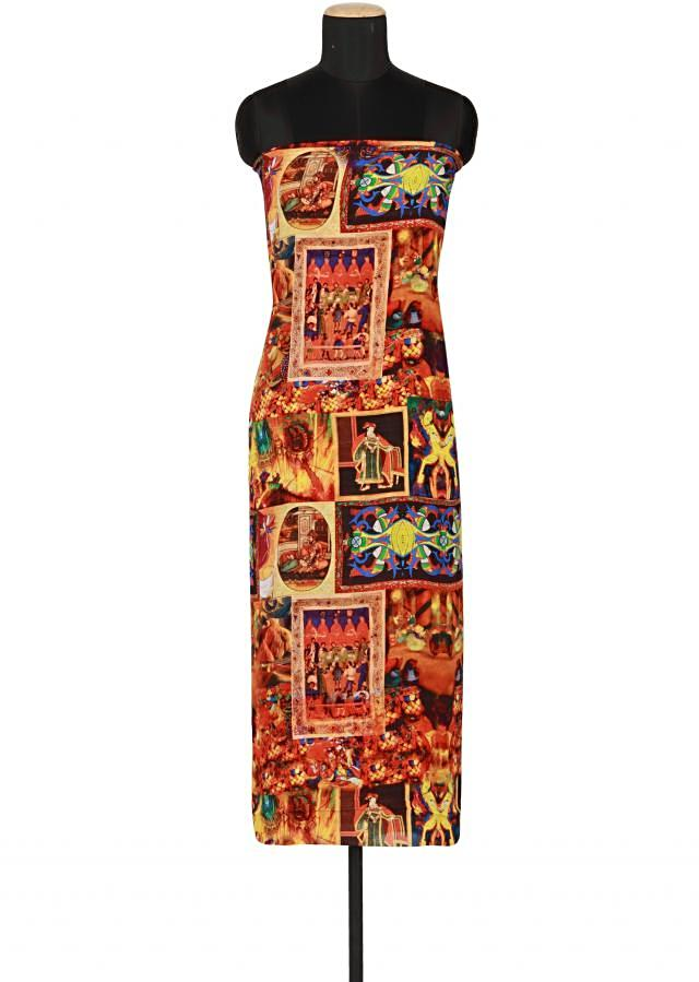 Multi coloured printed georgette satin un-stitched salwar-kameez only on Kalki