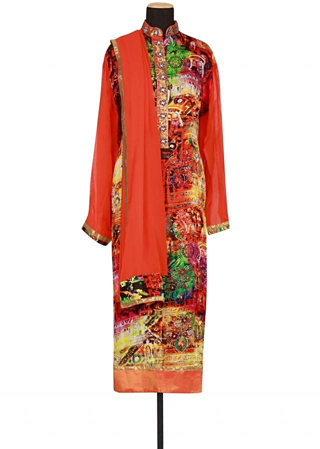 Multi coloured printed georgette semi-stitched salwar-kameez only on Kalki