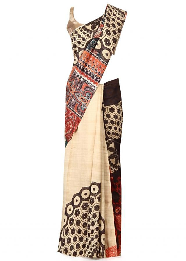 Multi colure saree in abstract print only on Kalki