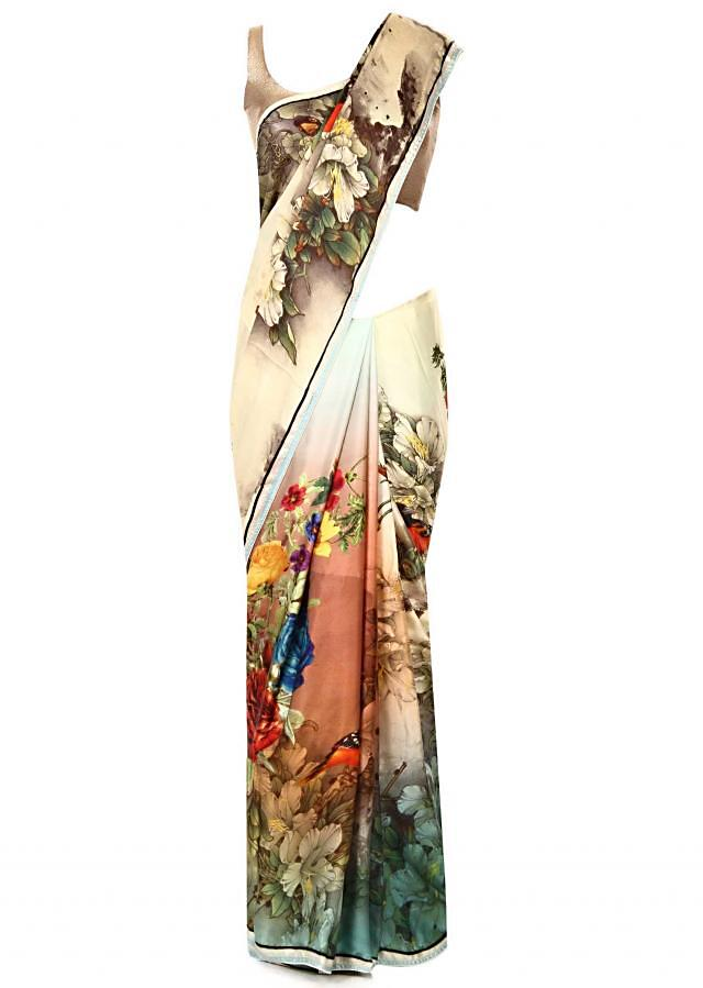 Multi colure saree in floral motif print only on Kalki