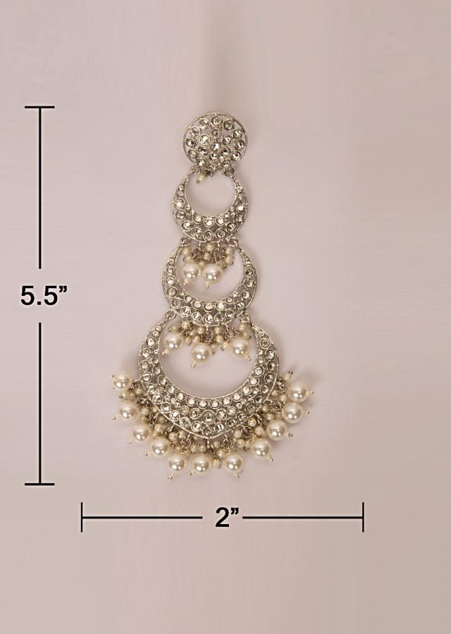 Multi layer chandbali earring with stone and pearls