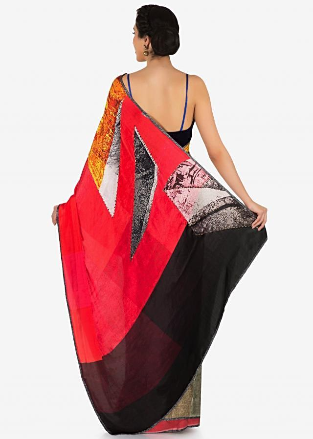 Multi color crepe saree features with abstract print only on Kalki