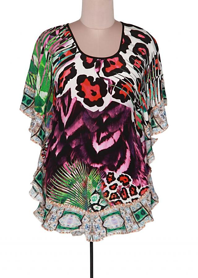 Multi color kaftan with abstract motif only on Kalki