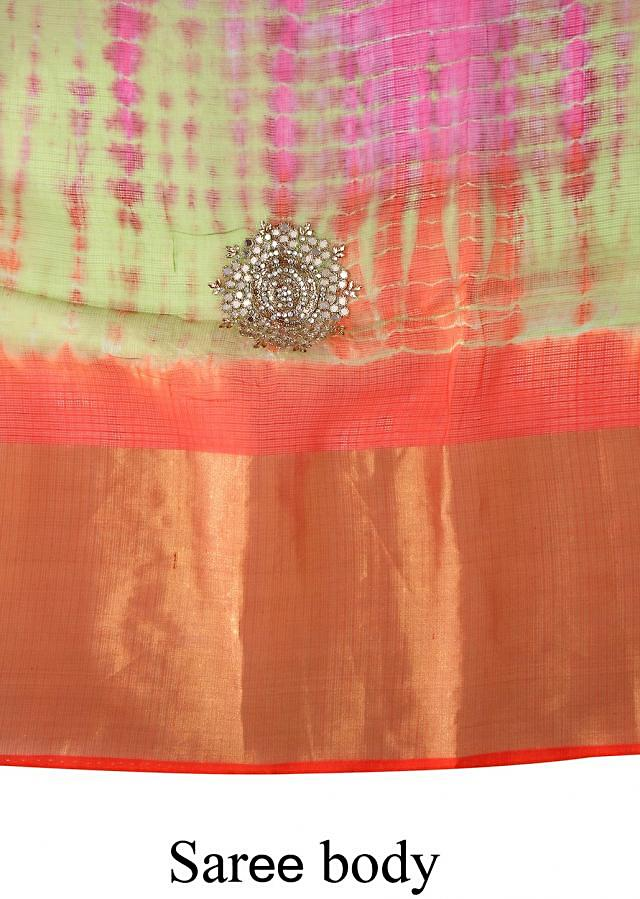Multi color saree adorn in mirror embroidered butti only on Kalki