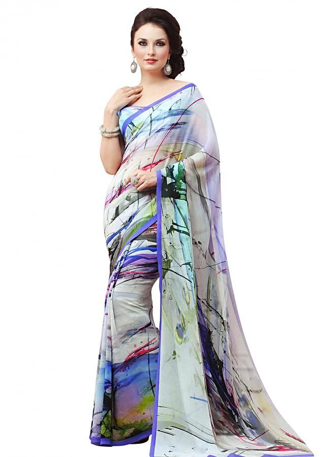 Multi color saree features with abstract print