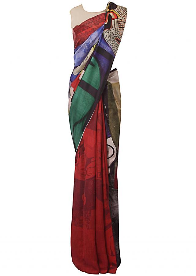Multi color saree in cotton silk with abstract motif print only on Kalki