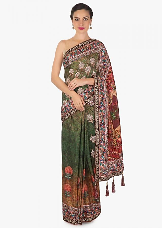 Multi color saree in cotton silk with flroal print with fancy tassel only on Kalki